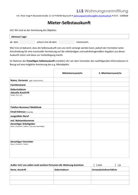 mieterselbstauskunft formular zum kostenlosen