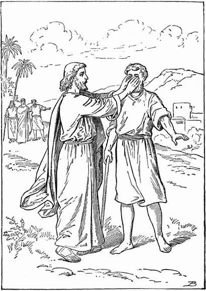 Blind Jesus Healing Born John Heals Coloring