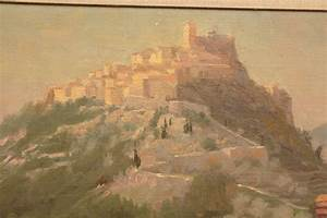 Oil Painting of a Walled Hill Top European City For Sale