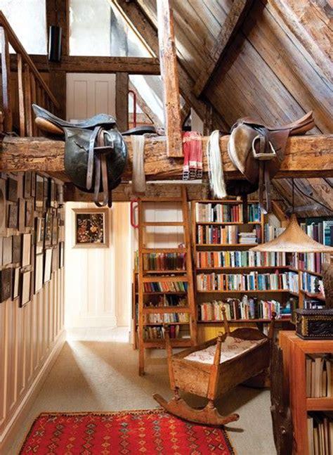 attic library design rustic attic reading book