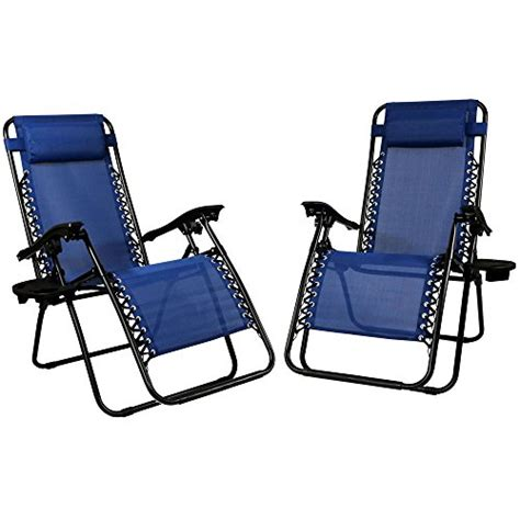 anti gravity chair cup holder sunnydaze navy blue zero gravity lounge chair with pillow