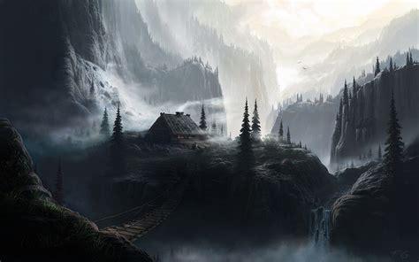 dark houses fantasy  waterfalls wallpapers hd desktop  mobile backgrounds