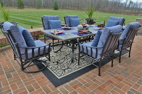 6 Person Patio Set With Umbrella by Amia Luxury 6 Person Cast Aluminum Patio Furniture Dining Set