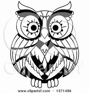 Clipart of Brown and Black and White Owls - Royalty Free ...