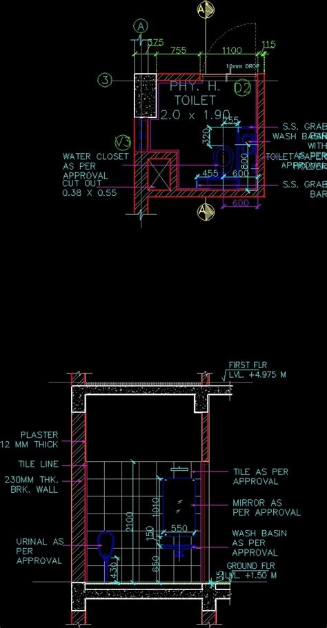 working drawing of handicap toilet dwg detail for autocad