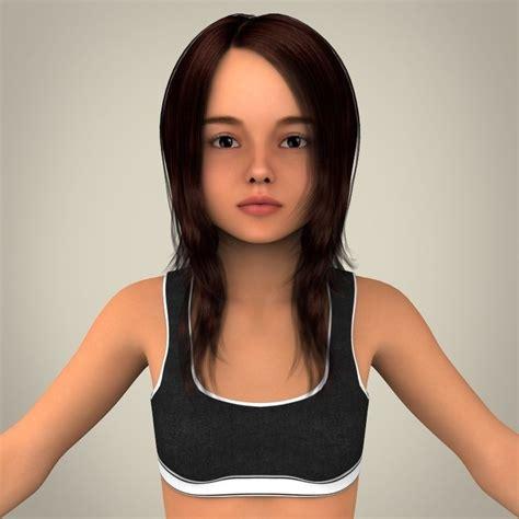 Realistic Girl 3d Model Max Obj 3ds Fbx C4d Lwo Lw Lws