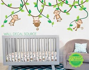 monkeys on vines nursery wall decal vinyl monkey sticker art With funny monkey wall decals for nursery
