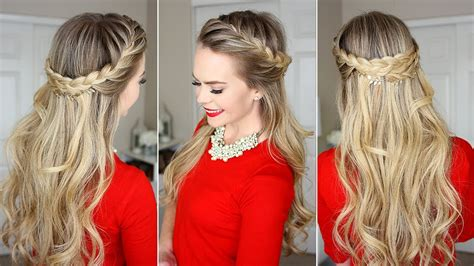 hair style with open hair braid crown last minute hairstyle