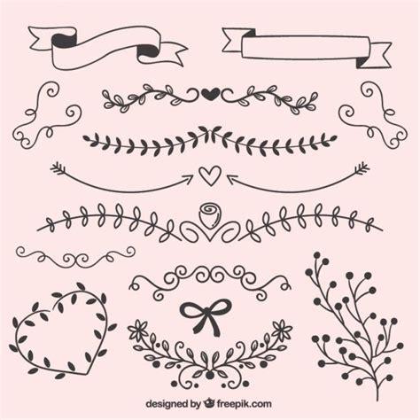 Decoraciones para invitaciones y tarjetas de boda. hojas dibujadas a mano adornos | Decorar hojas de cuaderno ...