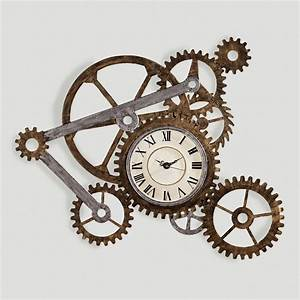 Gear wall art with clock clocks walls and steampunk house for Gear wall art