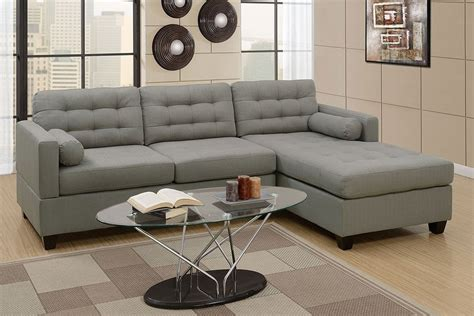 Contemporary L Shaped Sofa by Miley Grey Linen L Shape Sofa