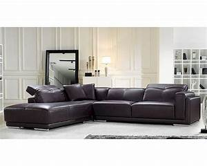 Brown leather sectional sofa in contemporary style 44l5981 for Leather sectional sofa mart