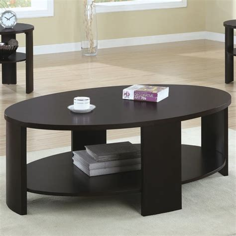 Featuring a clear glass top, this. Contemporary Oval Cocktail Table in Cherry - Modern - Coffee Tables