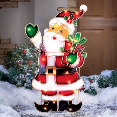 how to make a christmas yard poinsettia lighted light up santa outdoor decoration from collections etc