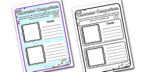 character comparison worksheets  support