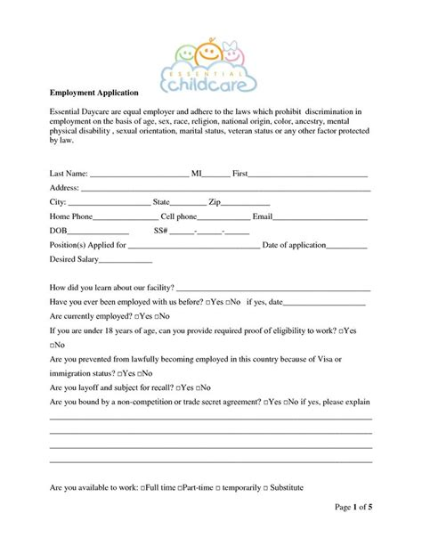 child care employment application form daycare center employment application bing images