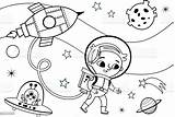 Coloring Space Alien Pages Vector Astronaut Illustration Printable Clip Illustrations Boy Vectors Cartoon sketch template
