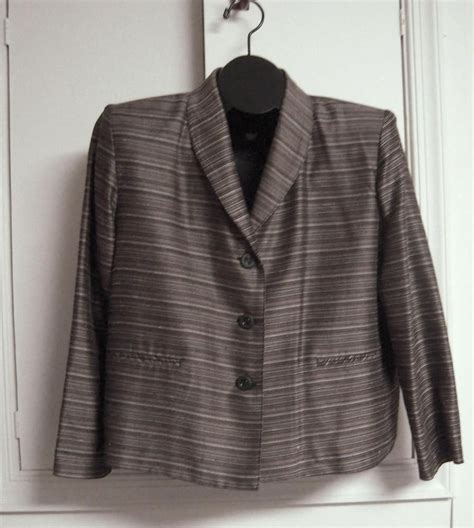 blazer shawl collar mini stripe brown welt pockets