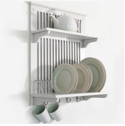 etagere mural cuisine white kitchen dish plate bowl cup towel drainer holder