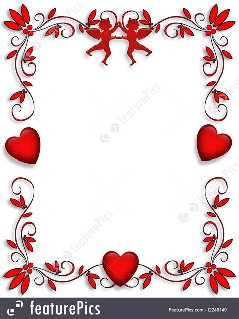 Holidays: Valentine Hearts And Cupids Border - Stock ...