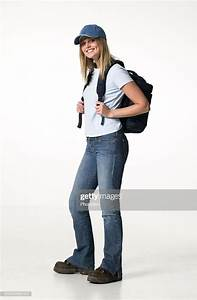 Young Woman Wearing Backpack Posing In Studio Portrait ...  Wearing