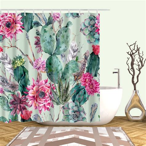 Vivid Watercolor Cactus With Floral Shower Curtain Gojeek