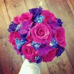 Wedding Bouquet- purple lisianthus, fuchsia dendrobium ...