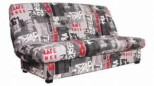 Clic clac banquette graffiti avec matelas 130 x 190 cm for Tapis de course pas cher avec canapé 2 places 130 cm