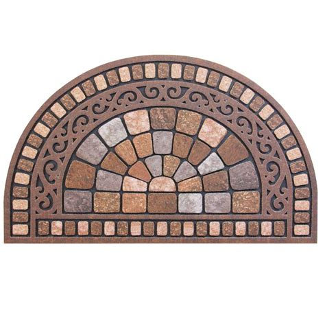 semi circle doormat trafficmaster half 18 in x 30 in door mat 60