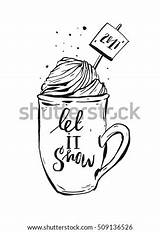 Cream Whipped Ink Coloring Cocoa Coffee Mug Drawn Graphic Shutterstock Helterskelter Simple sketch template