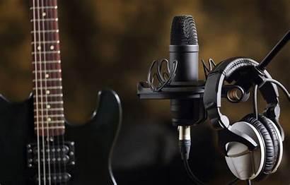Microphone Guitar Guitarra Studio Electric Fondo Pantalla