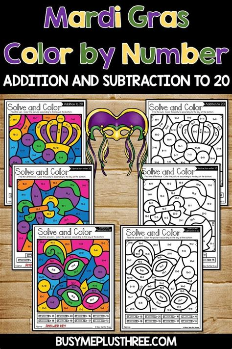 color  code mardi gras math activities addition