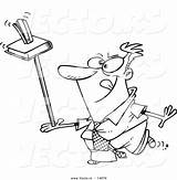 Ruler Cartoon Stapler Coloring Outline Balancing Unproductive Businessman Toonaday sketch template