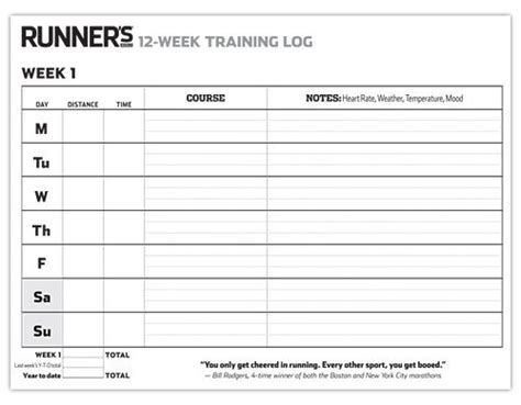 We have yearly, monthly, weekly calendar templates optimized for printing on letter and a4 sized paper in your home or office printer. Print It: 12-Week Training Log for Runners http://www ...
