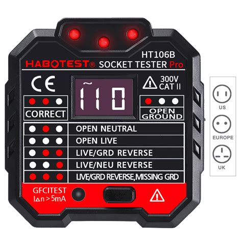Htb Socket Outlet Tester Circuit Polarity Voltage
