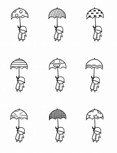 Umbrella Doodles Rain Drawing Drawings Doodle Easy