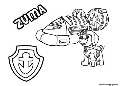 paw patrol zuma  hovercraft vehicle coloring pages printable