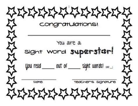 sight word certificate  sixth grade sparkles tpt