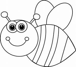 Black and White Cute Cartoon Bee Clip Art - Black and ...