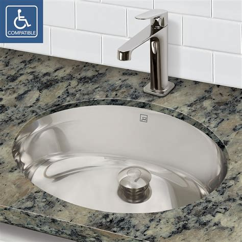 Stainless Steel Sinks Bathroom by Decolav Taji 1300 Simply Stainless Collection Oval