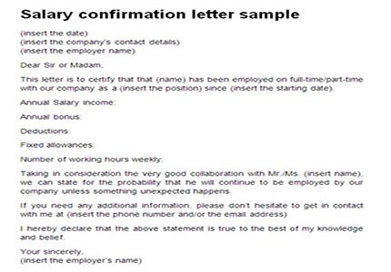 salary confirmation letter sample proof  income template