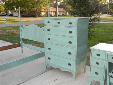 Complete Turquoise Painted Bedroom Furniture Set