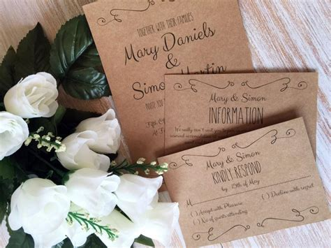 diy wedding invitation template suite kraft paper swashes