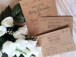 diy wedding invitation template suite kraft paper swashes With diy newspaper wedding invitations