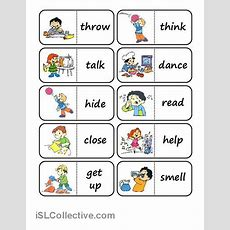 Action Words Domino Worksheet  Free Esl Printable Worksheets Made By Teachers  Efl Pinterest
