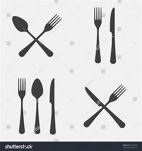 Spoon, Fork And Knife Icon Set. Vector Illustration In ...