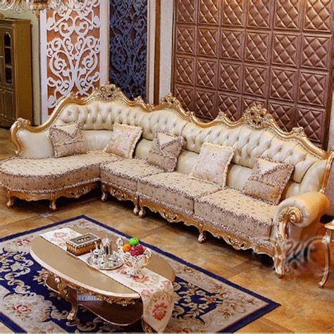 luxury chagne leather corner sofa wood carving upscale