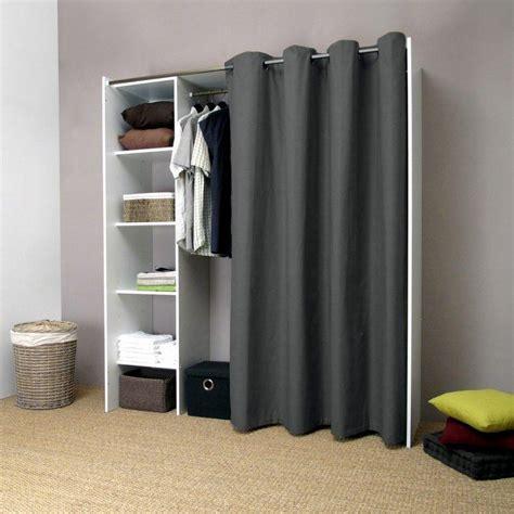 colonne de rangement chambre pix dressing extensible blanc rideau anthracite avec