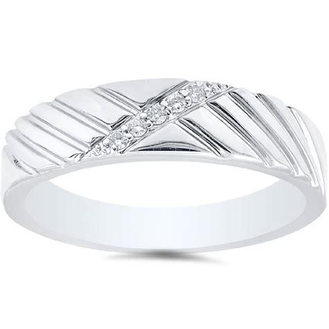 mens diamond  white gold wedding ring ebay