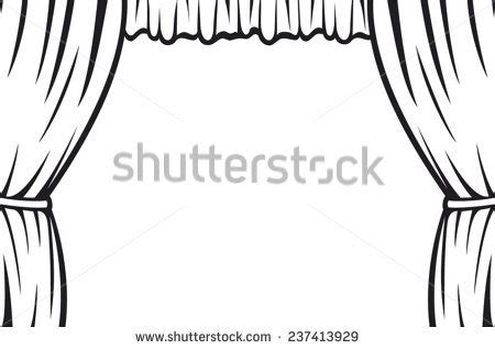 stage clipart black and white theater curtain stock vector 237413929